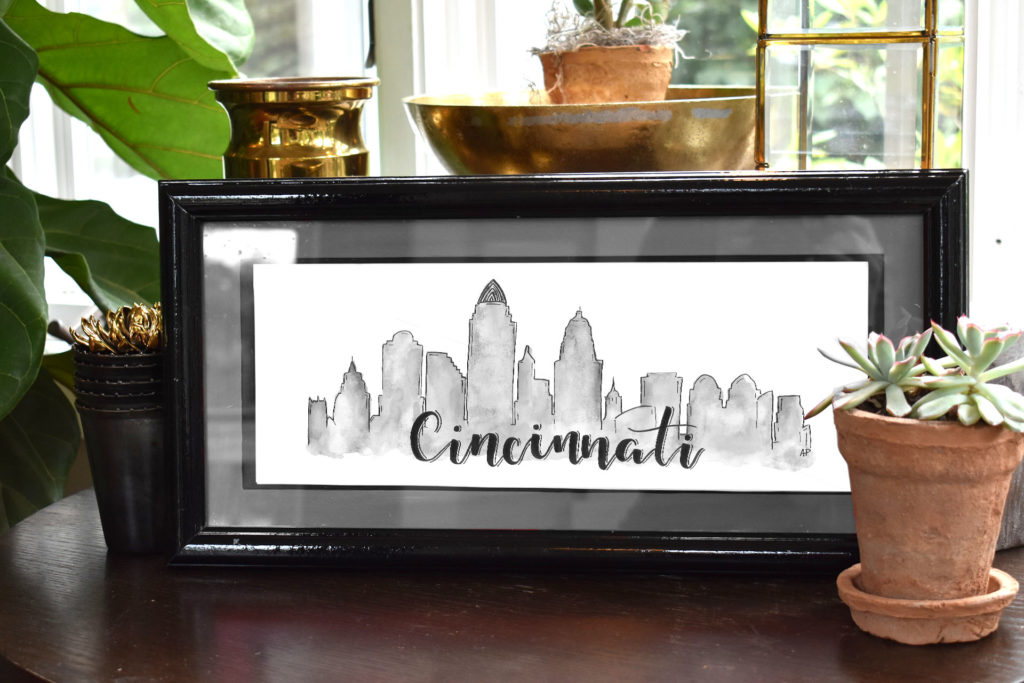 Cincinnati Skyline (Black and White)