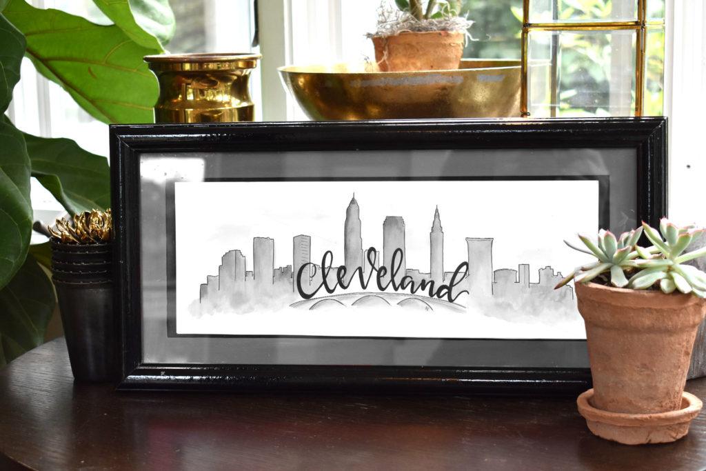 Cleveland Skyline (Black and White)