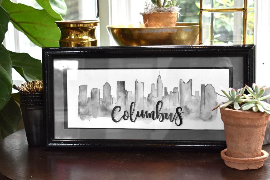 Columbus Skyline (Black And White)
