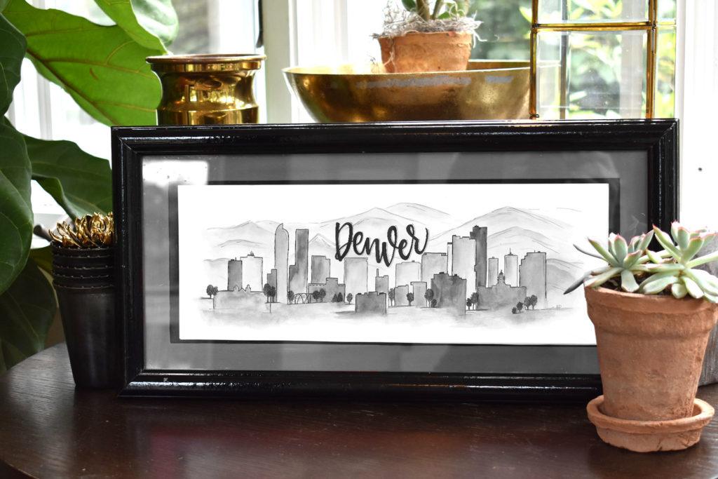 Denver Skyline (Black and White)