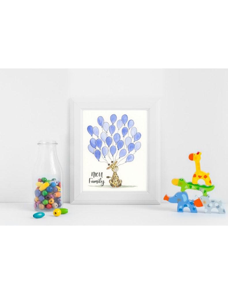 Blue Giraffe NICU Poster