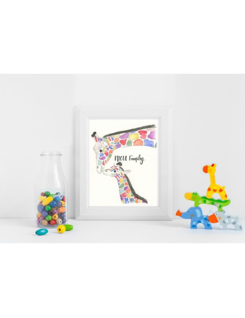 Colorful Giraffes NICU Poster