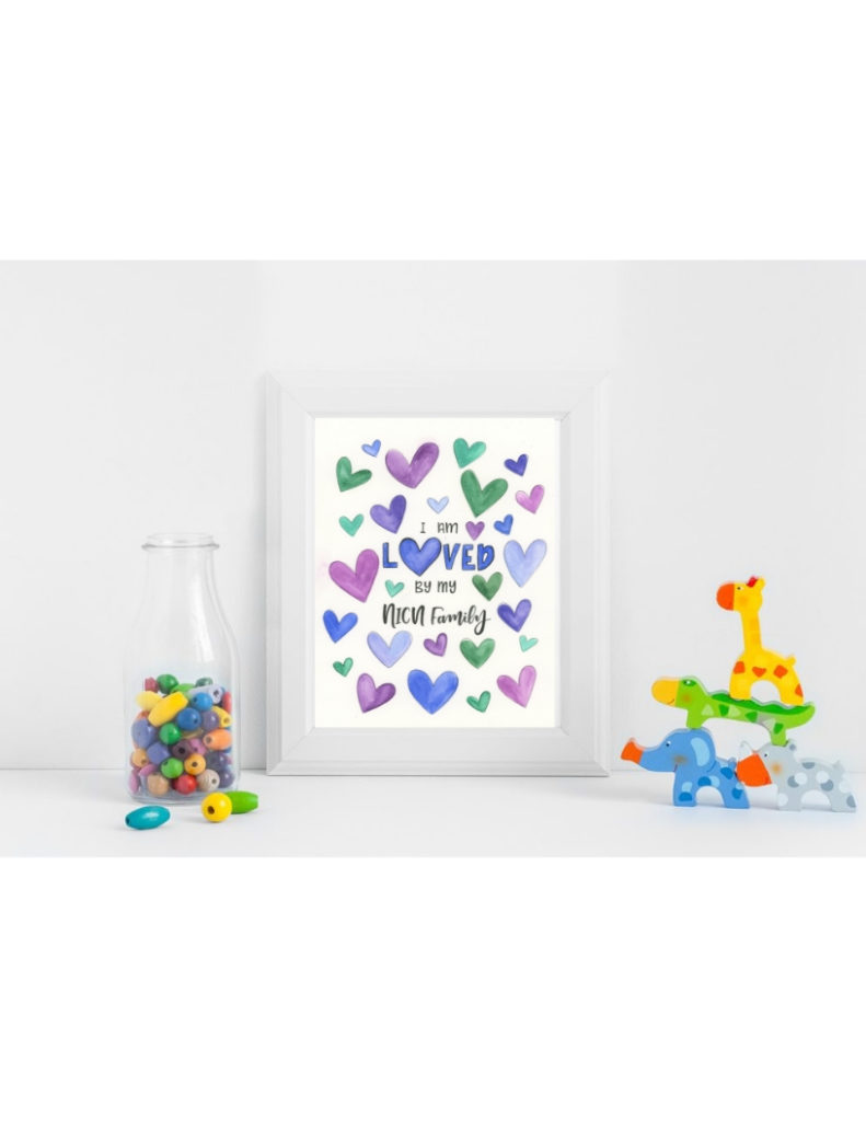 Cool Colored Hearts NICU Poster